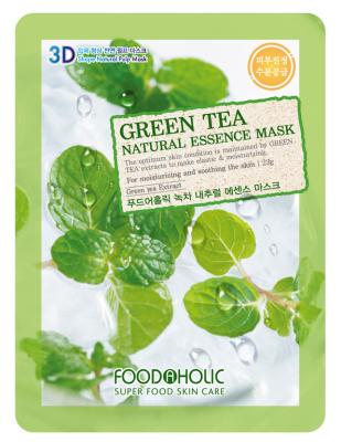Тканевая 3D маска с экстрактом зеленого чая FoodaHolic Green Tea Natural Essence Mask 23 мл: фото